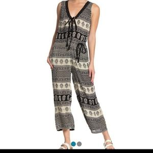 NWT RAGA Lace Up Printed Jumpsuit Size XS